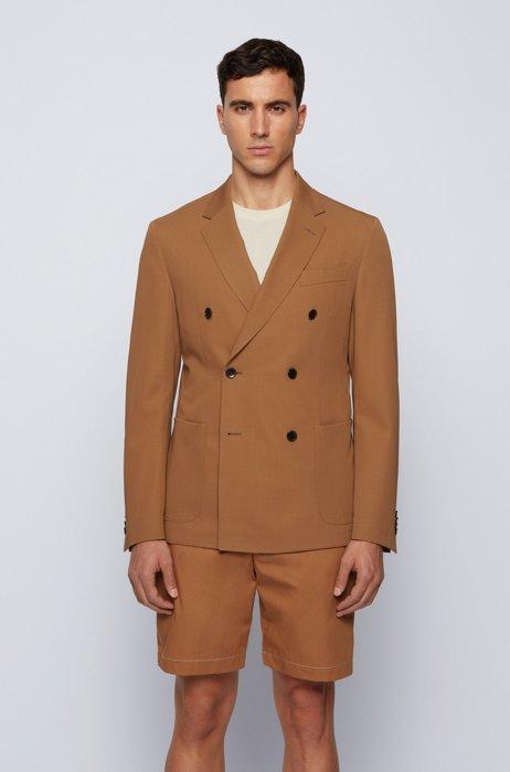 Virgin-wool slim-fit jacket with double-breasted closure, Beige