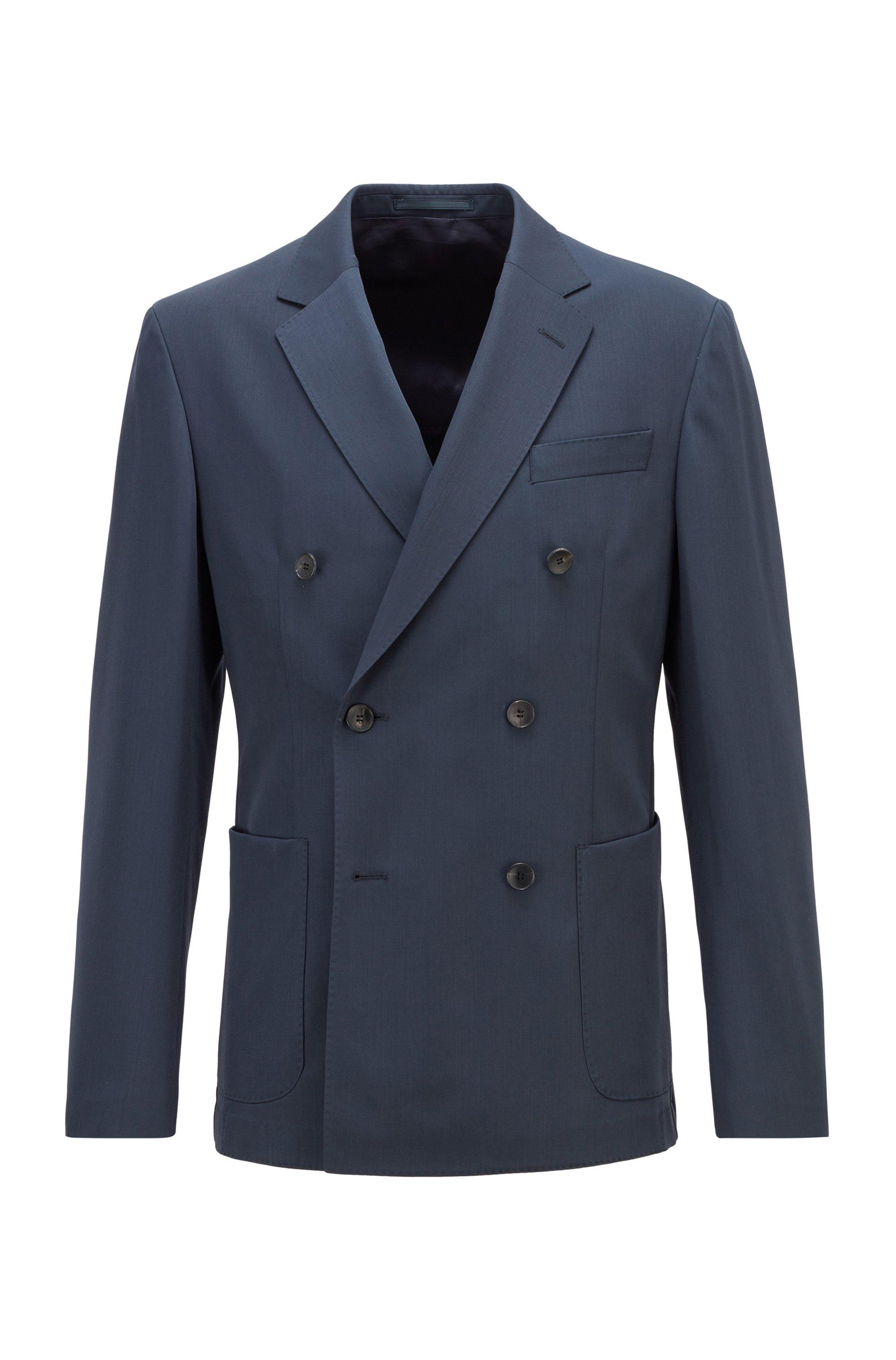 Virgin-wool slim-fit jacket with double-breasted closure, Dark Blue
