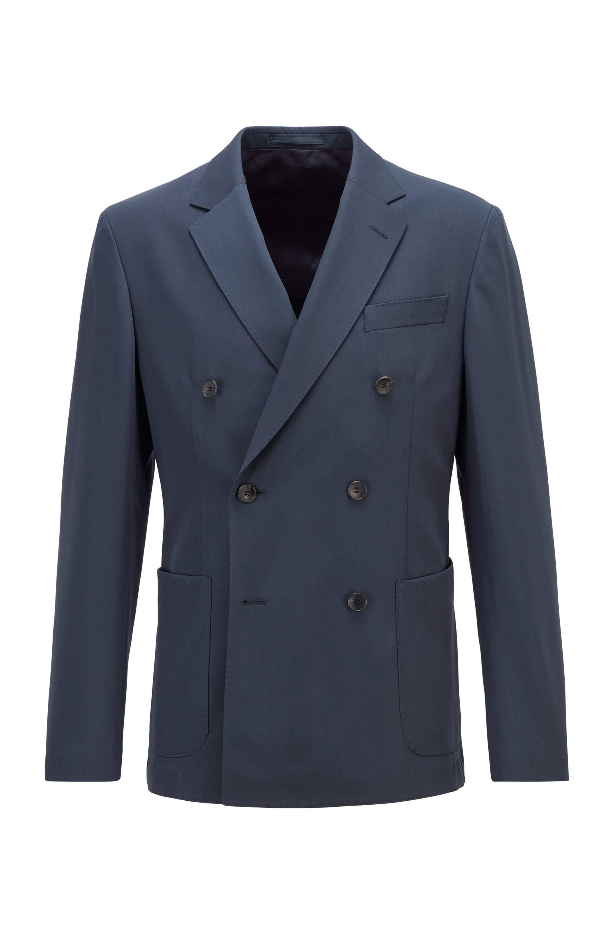 Virgin-wool slim-fit jacket with double-breasted closure, Dark Blue