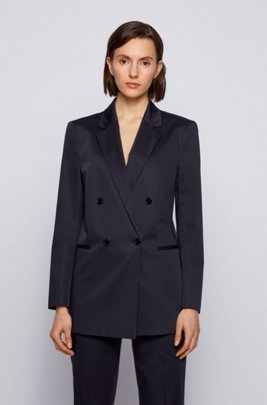 Regular-fit jacket in organic-cotton stretch satin, Dark Blue