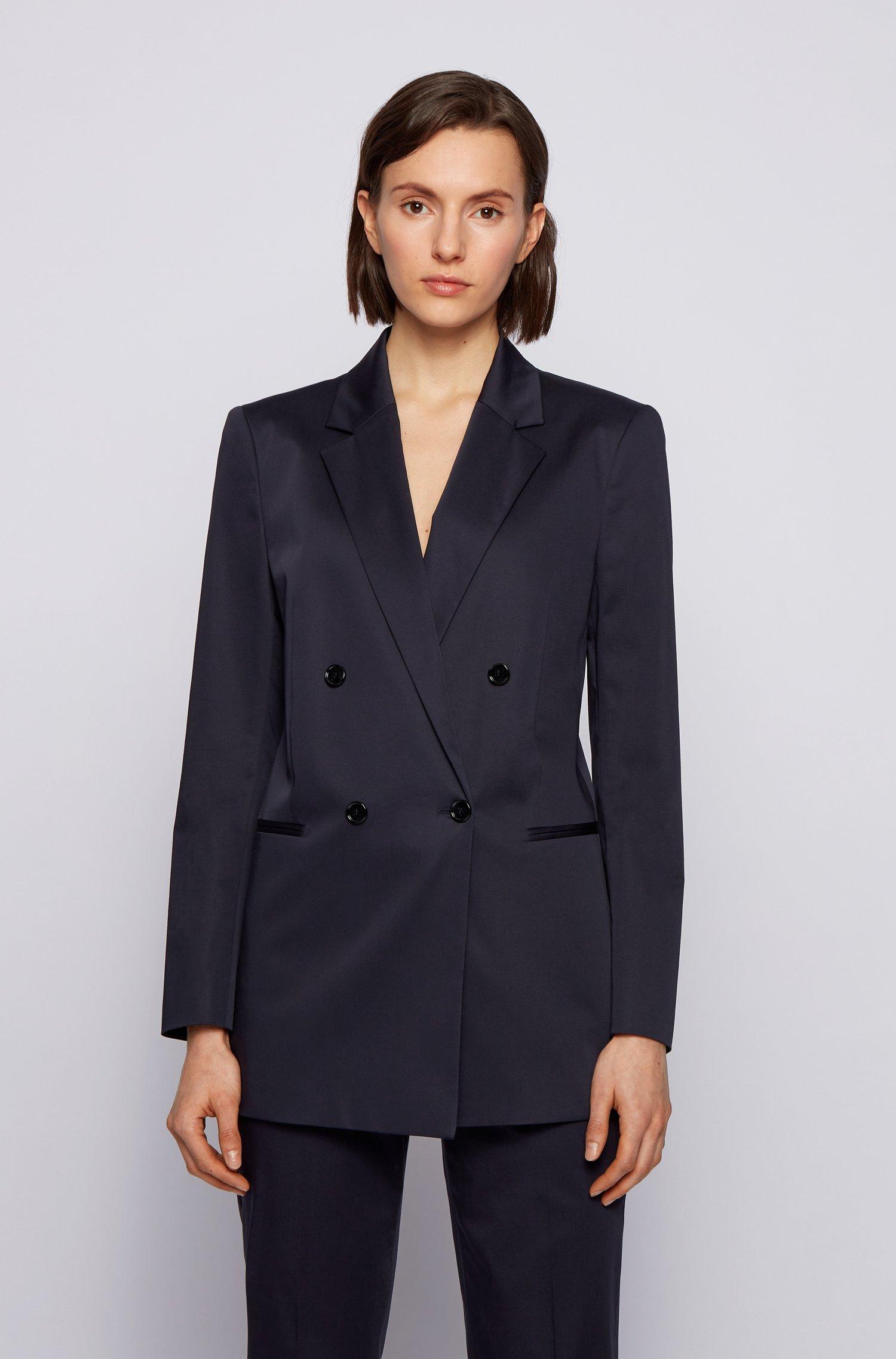 Regular-fit jacket in organic-cotton stretch satin, Dark Blue