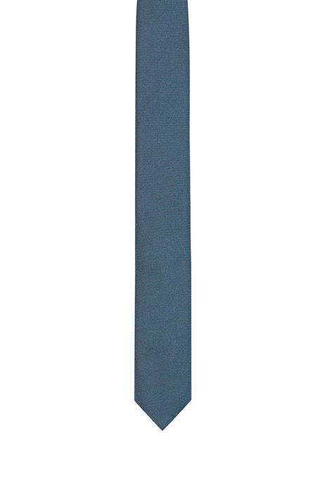 Jacquard-woven tie in pure silk, Dark Blue