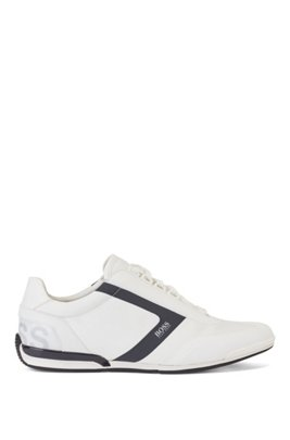 Low-top trainers with thermo-bonded trim, White