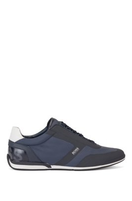 Low-top trainers with thermo-bonded trim, Dark Blue