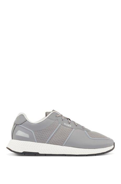 Hybrid trainers with reflective accents and bamboo-cotton insole, Grey
