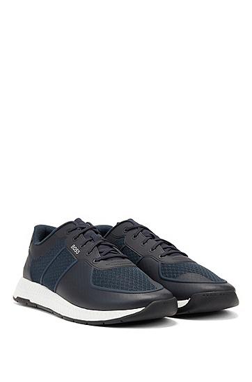 反光装饰竹棉内底混合运动鞋,  401_暗蓝色