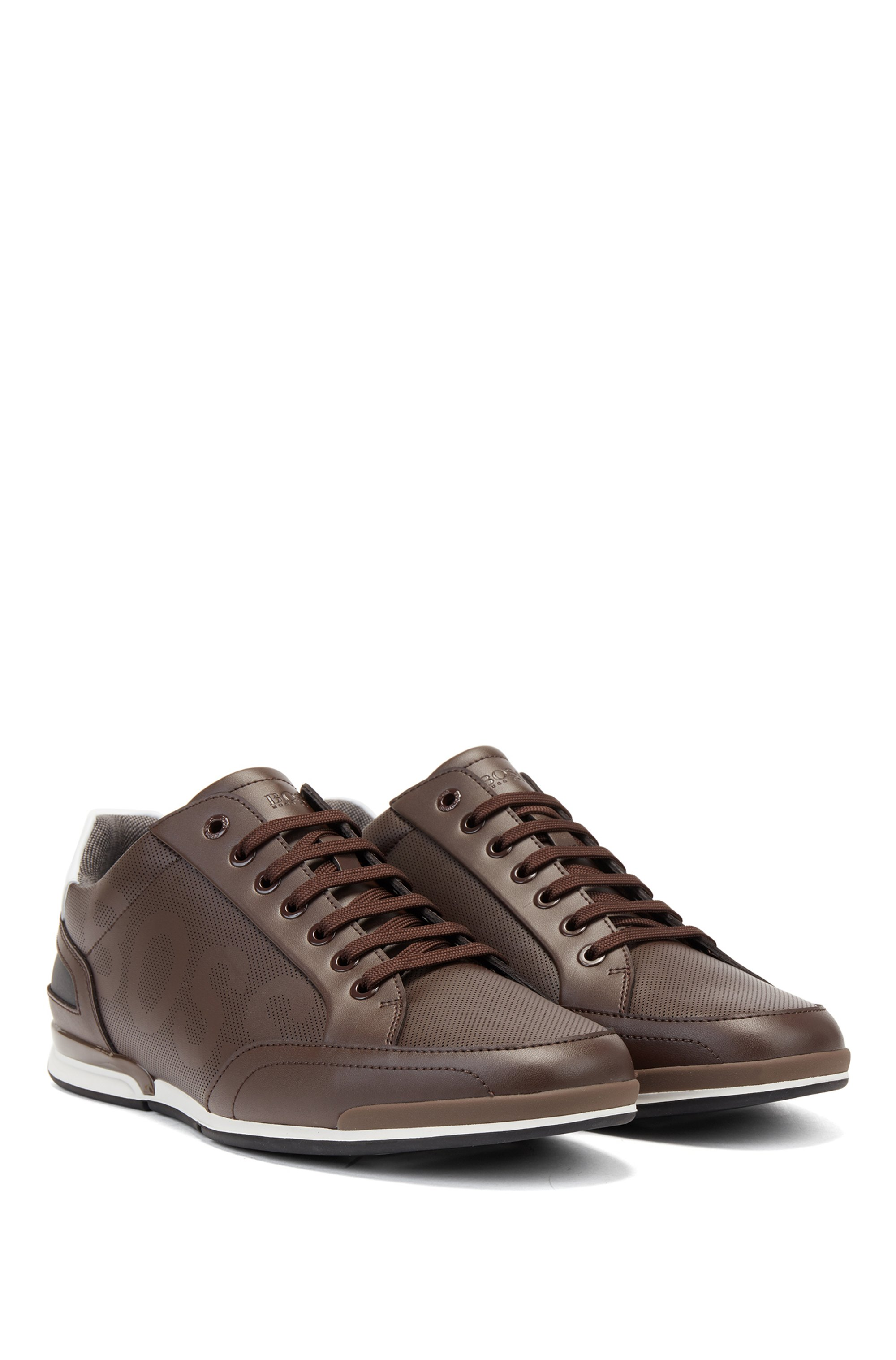 Low-profile leather trainers with perforated detailing