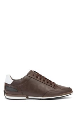 Low-profile leather trainers with perforated detailing, Dark Brown