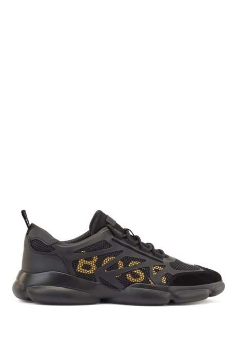Low-top trainers with honeycomb mesh and logo details, Black