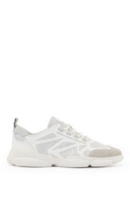 Low-top trainers with honeycomb mesh and logo details, White