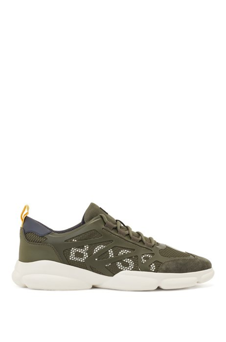 Low-top trainers with honeycomb mesh and logo details, Khaki