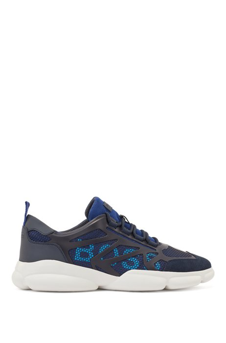 Low-top trainers with honeycomb mesh and logo details, Dark Blue