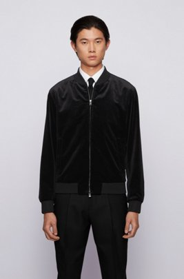 Slim-fit bomber jacket in micro-patterned cotton, Black