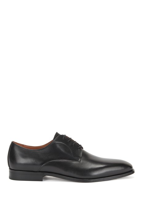Derby shoes in polished leather with stitching details, Black