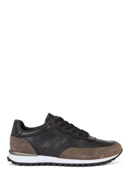 Hybrid trainers in leather and suede with hardware logo, Black