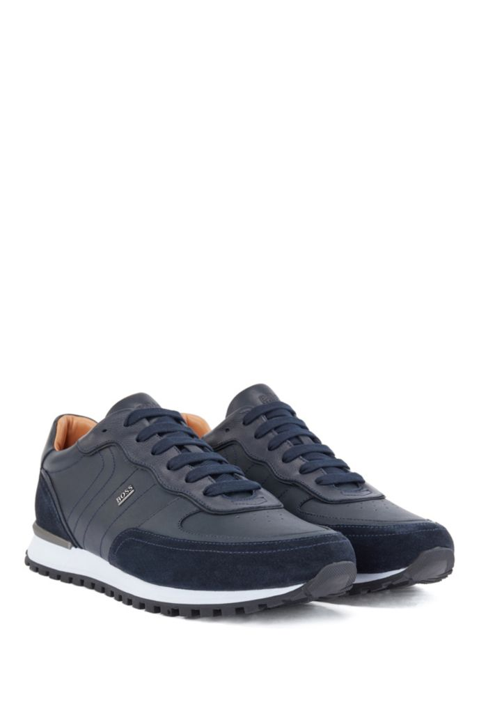 Hybrid trainers in leather and suede with hardware logo