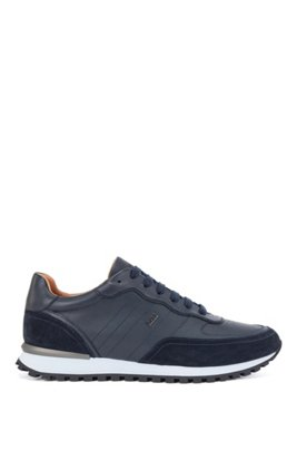 Hybrid trainers in leather and suede with hardware logo, Dark Blue