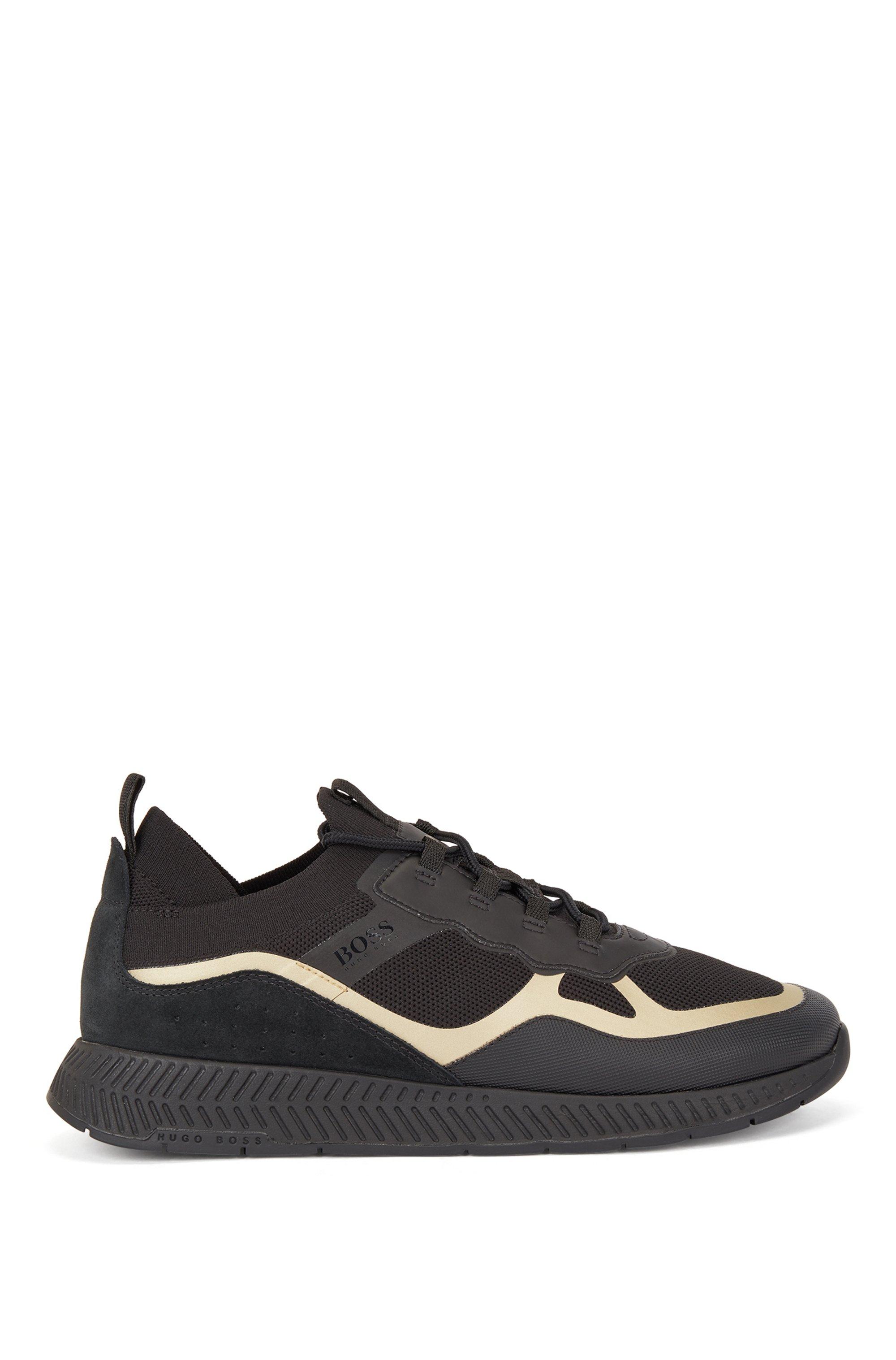Baskets style chaussettes avec tige REPREVE® et détails thermocollés, Noir