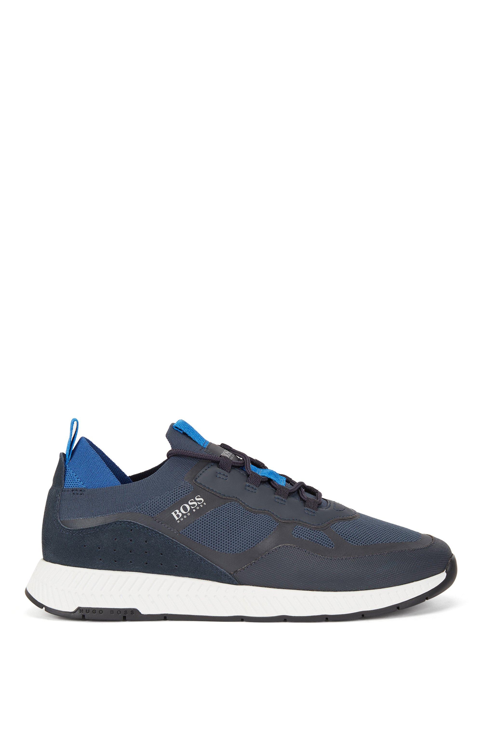 Sock sneakers con tomaia REPREVE® e dettagli termosaldati, Blu scuro