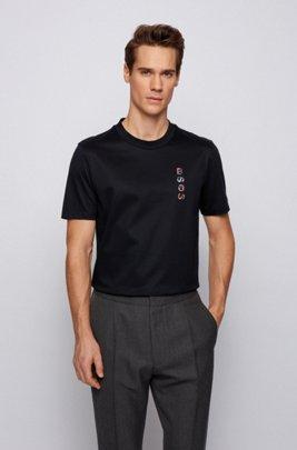T-Shirt aus merzerisierter Baumwolle mit Logo-Artwork der neuen Saison, Schwarz