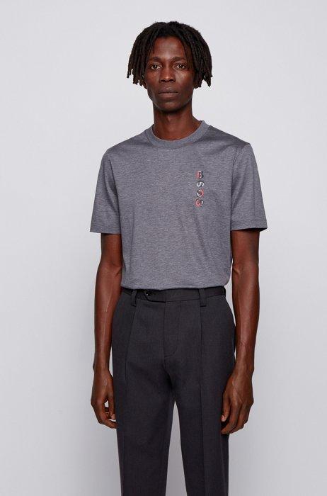 T-shirt en coton mercerisé avec logo artistique de la nouvelle saison, Gris