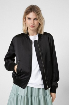 Relaxed-fit bomber jacket in satin with bear artwork, Black