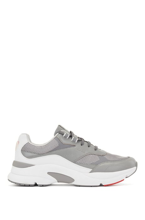 Running trainers with leather and open mesh, Light Grey