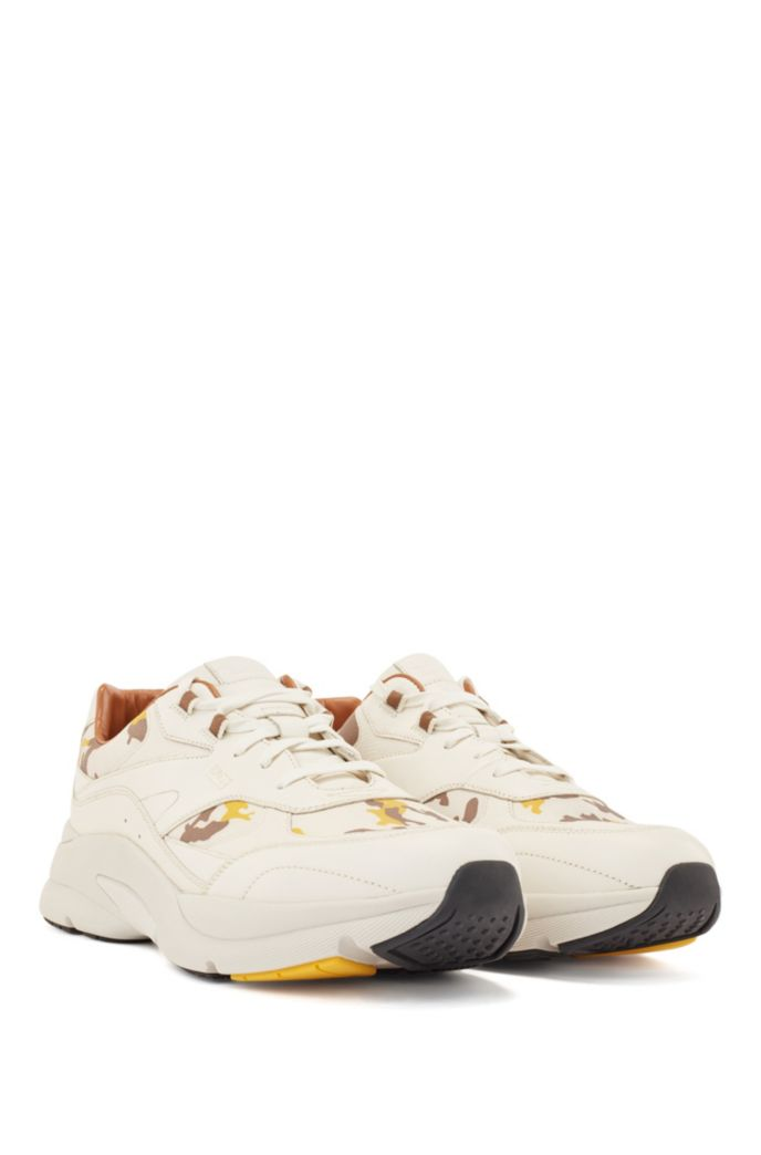 Leather trainers with camouflage-print trims