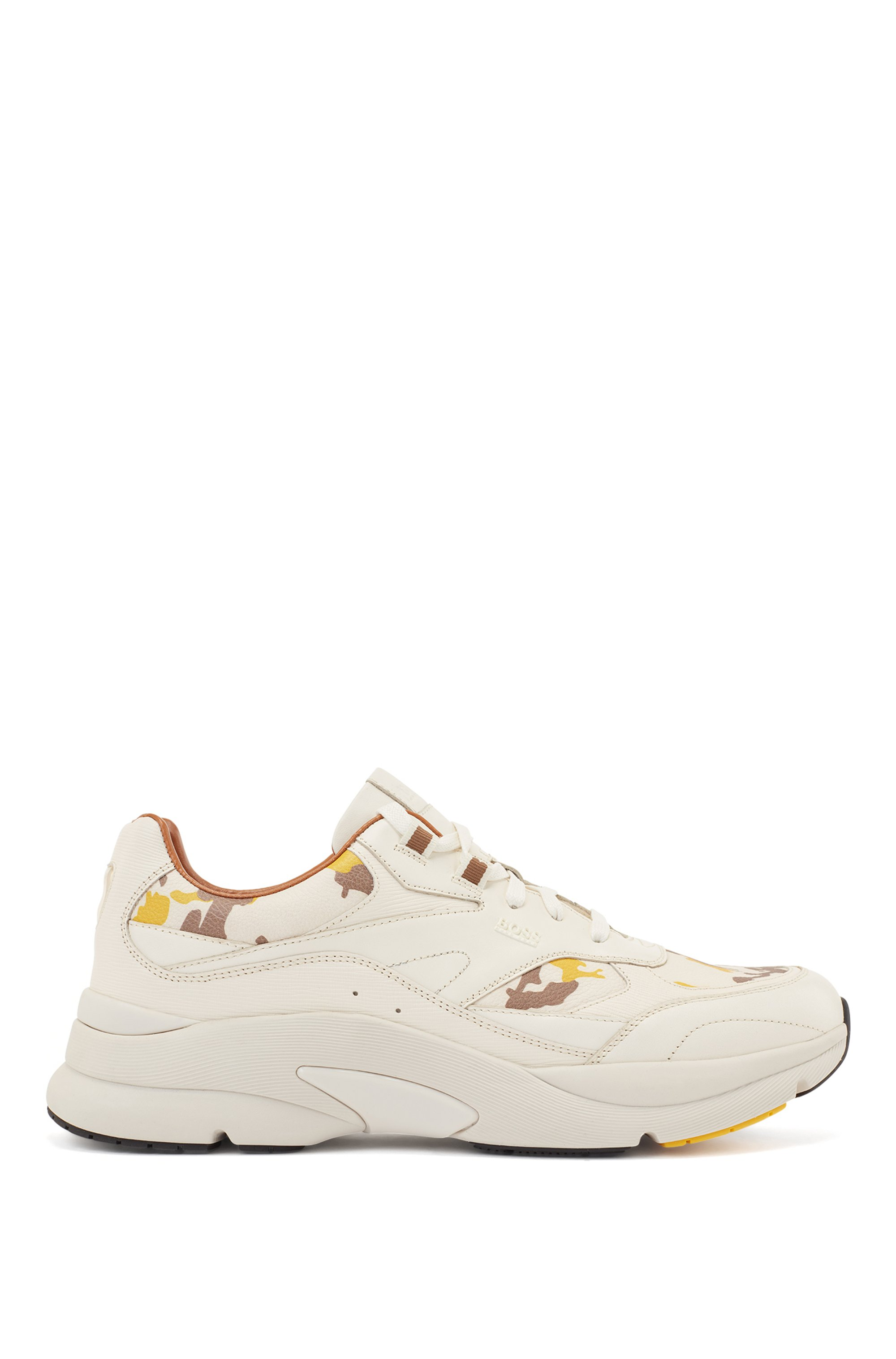 Leather trainers with camouflage-print trims, Light Yellow