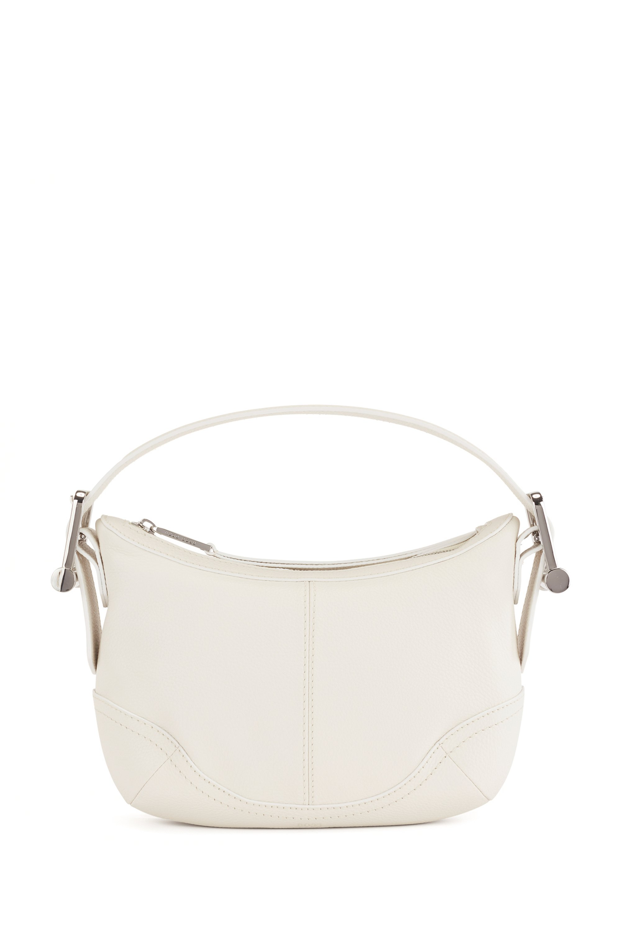 Hobo bag in grained leather with signature hardware trims, White