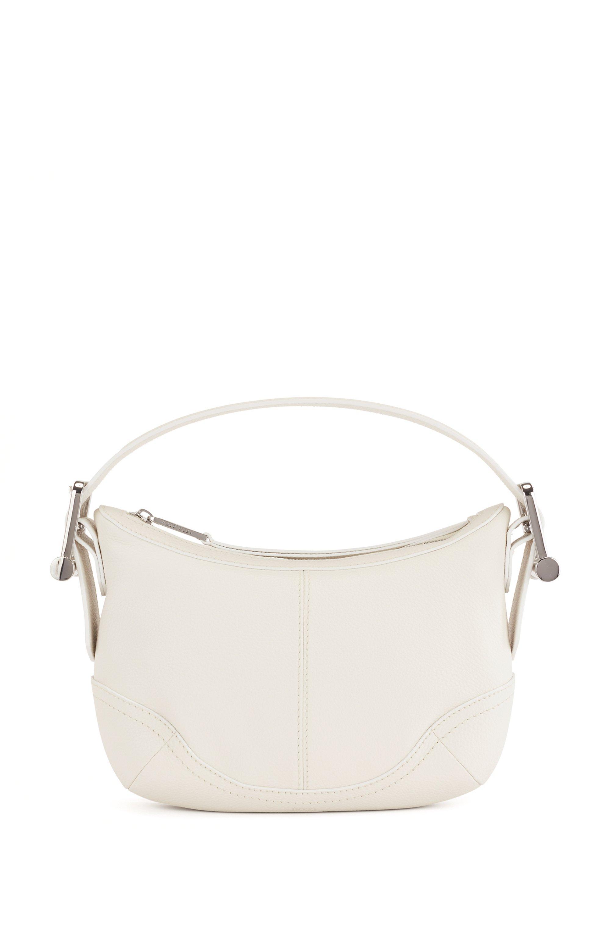 Hobo Bag aus genarbtem Leder mit charakteristischen Metalldetails, Weiß