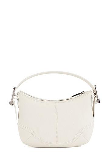 个性硬件装饰粒面皮革手拎包,  114_Open White