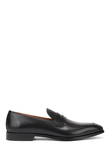 Leather-lined penny loafers in polished leather, Black