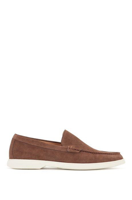 Suede moccasins with contrast sole, Dark Brown