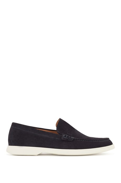 Suede moccasins with contrast sole, Dark Blue
