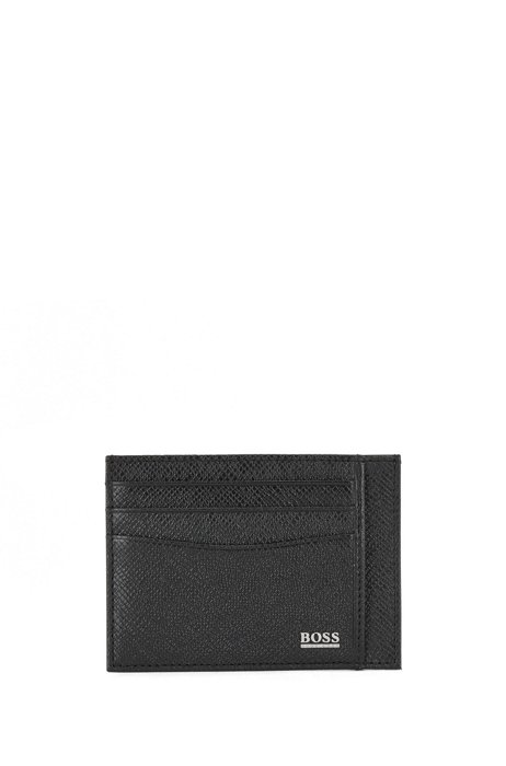 Signature Collection card holder in embossed Italian leather, Black