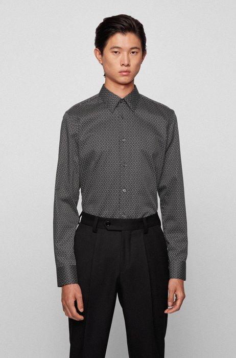 Camisa slim fit estampada de satén de algodón italiano, Negro