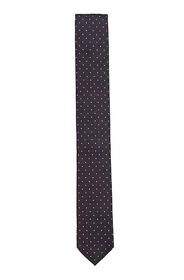 意大利制造提花图案真丝领带,  403_暗蓝色