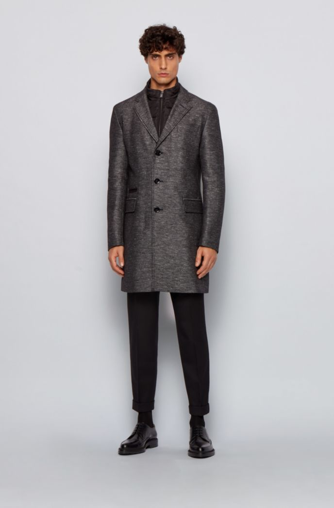 Slim-fit cotton-blend coat with detachable inner