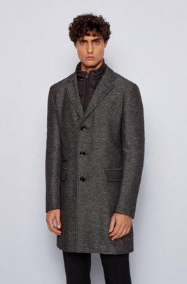 Slim-fit cotton-blend coat with detachable inner, Light Grey