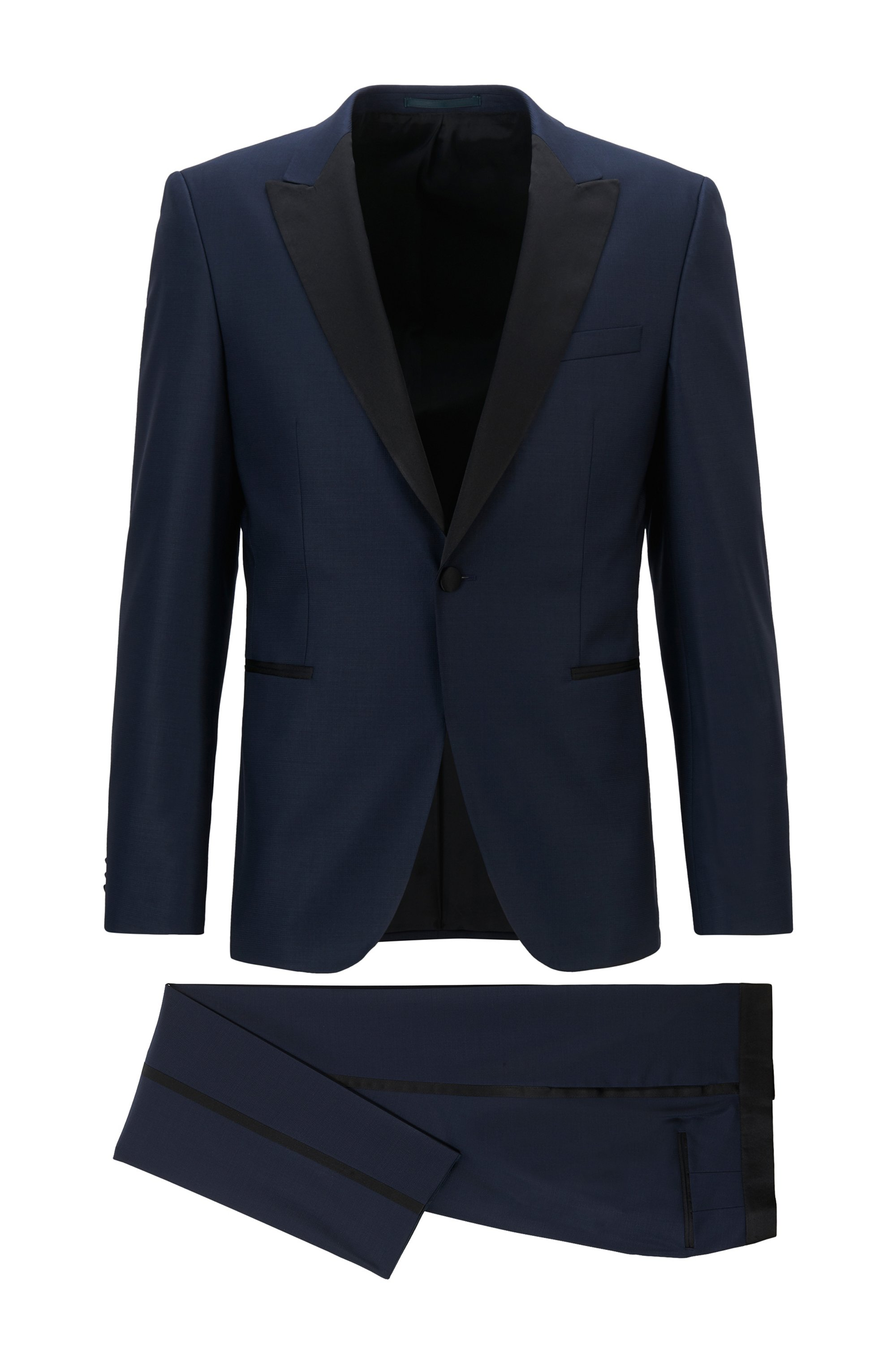 Extra-slim-fit wool-blend suit with silk trims, Dark Blue