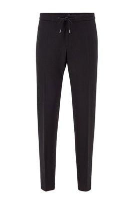 Slim-fit trousers in interlock fabric with drawstring waist, Black
