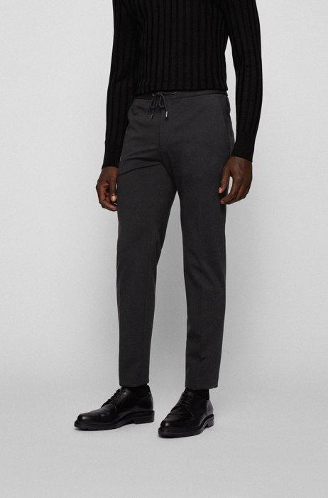 Pantalones slim fit de tejido interlock con cintura con cordón, Negro