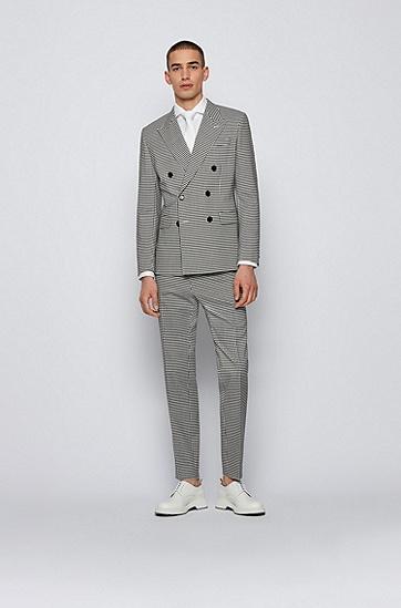 易熨烫结构纹理棉质修身衬衫,  100_白色