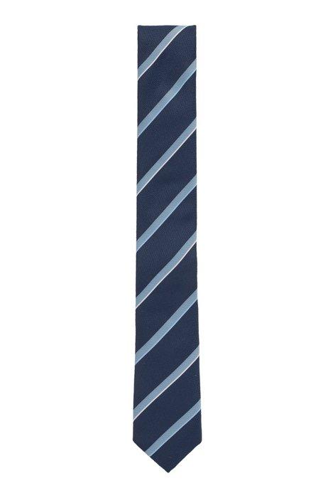 Diagonally striped tie in jacquard fabric, Dark Blue