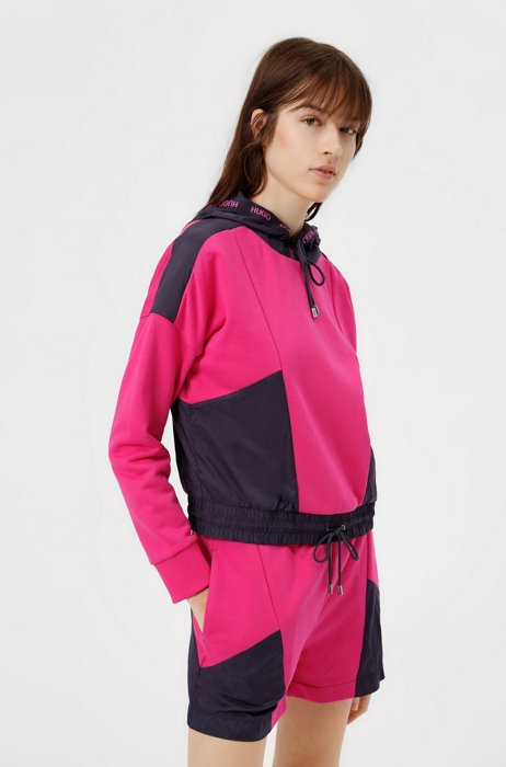 Hybrid color-blocked hoodie with logo-tape trim, Patterned