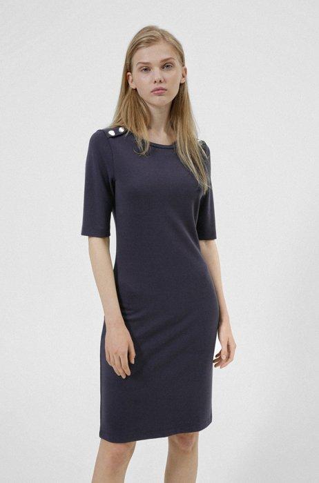 Button-shoulder tube dress in stretch jersey, Dark Blue
