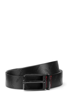 Pin-buckle belt in Italian leather with embossed logos, Black