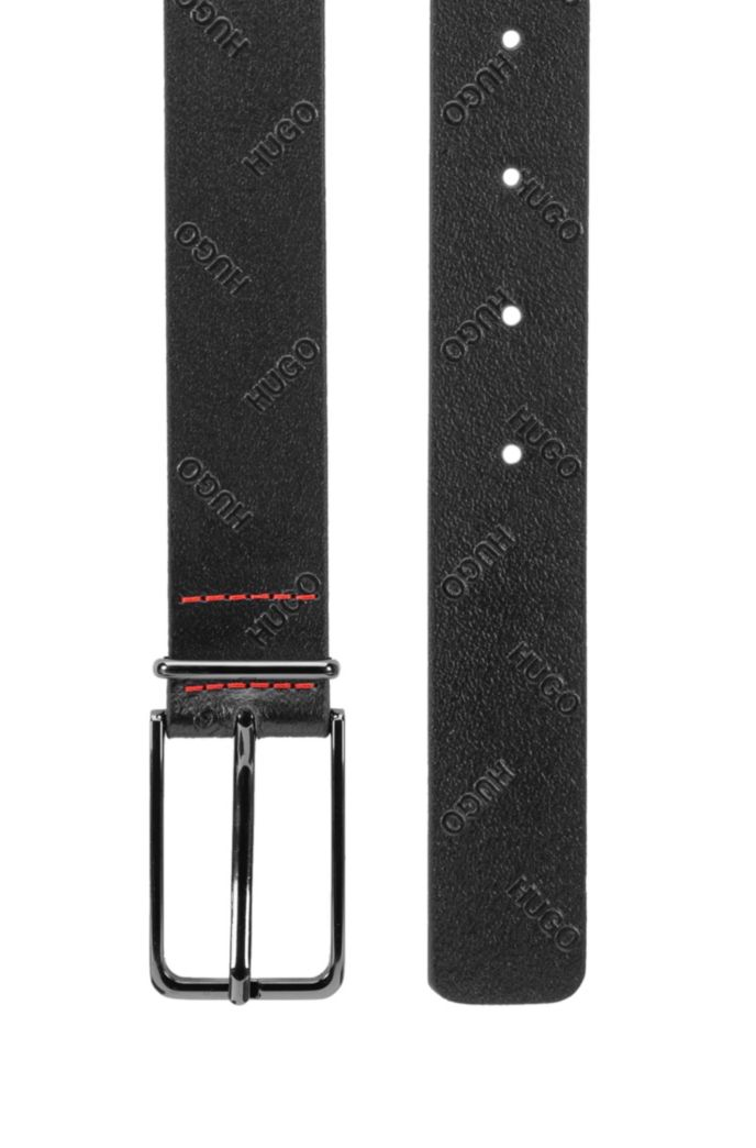 Pin-buckle belt in Italian leather with embossed logos
