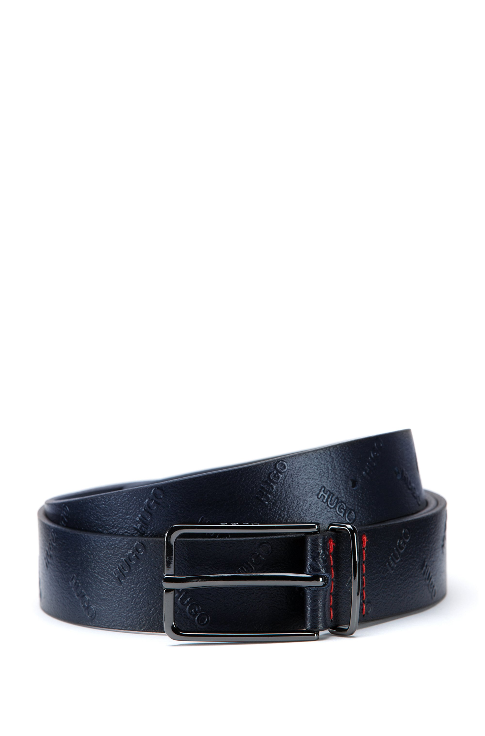 Pin-buckle belt in Italian leather with embossed logos, Dark Blue